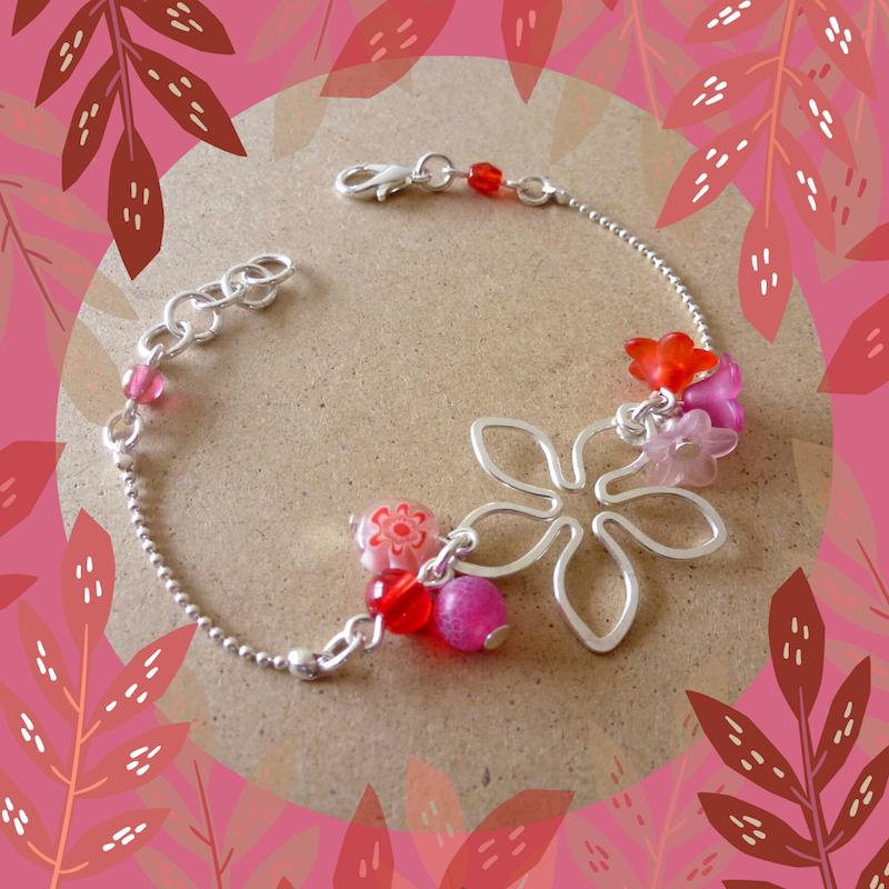 Bracelet fleur rose rouge