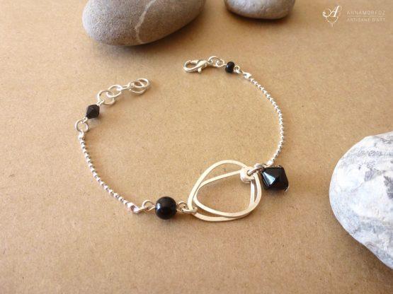 bracelet noir argenté fait main