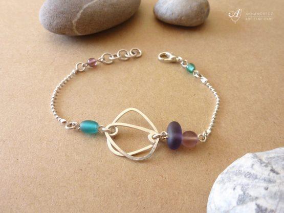 bracelet mauve violet et turquoise