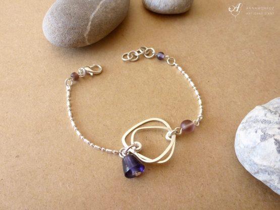 bracelet galets violet